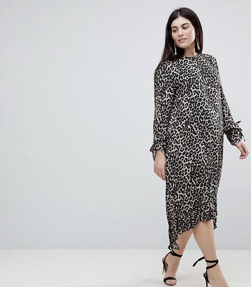 ASOS CURVE Soft Trapeze Midi Dress with Pep Hem in Leopard Print