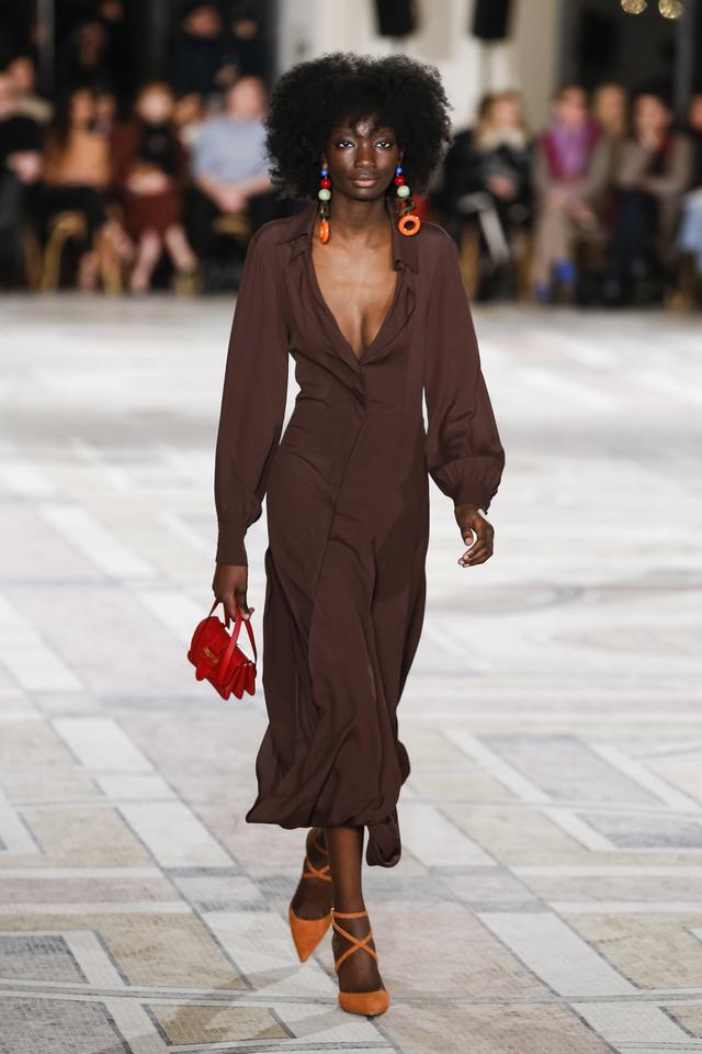 Jacquemus Fall 2018 red mini bag brown dress
