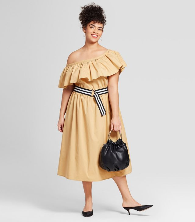 Who What Wear Off the Shoulder Ruffle Midi Dress