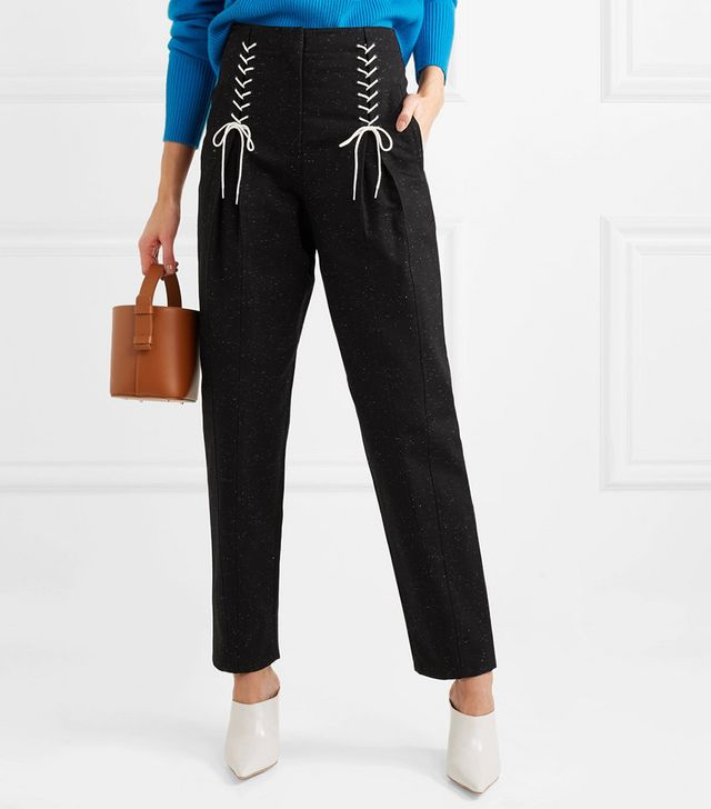 Easron Lace-up Cotton-blend Tapered Pants