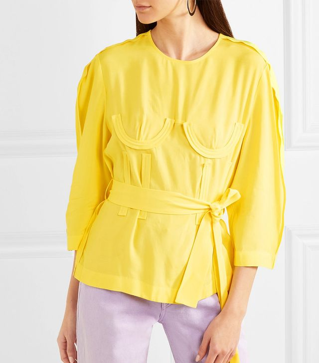 Belted Crepe Blouse