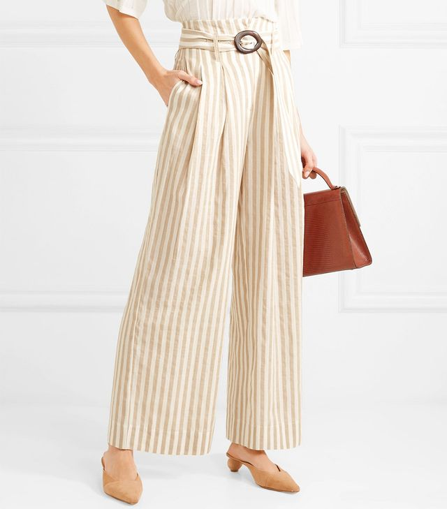 Nevada Striped Cotton And Linen-blend Wide-leg Pants