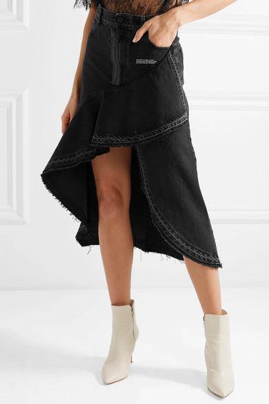 Asymmetric Ruffled Denim Skirt