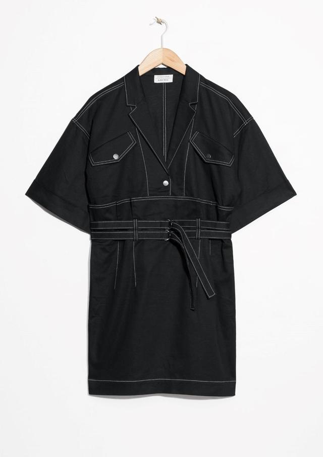 Belted Denim Dress