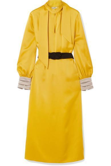 Belted Crepe de Chine Midi Dress