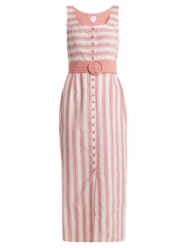 Belted Striped Linen-Blend Dress