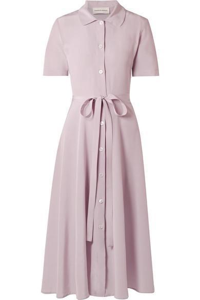 Belted Silk Crepe de Chine Shirt Dress