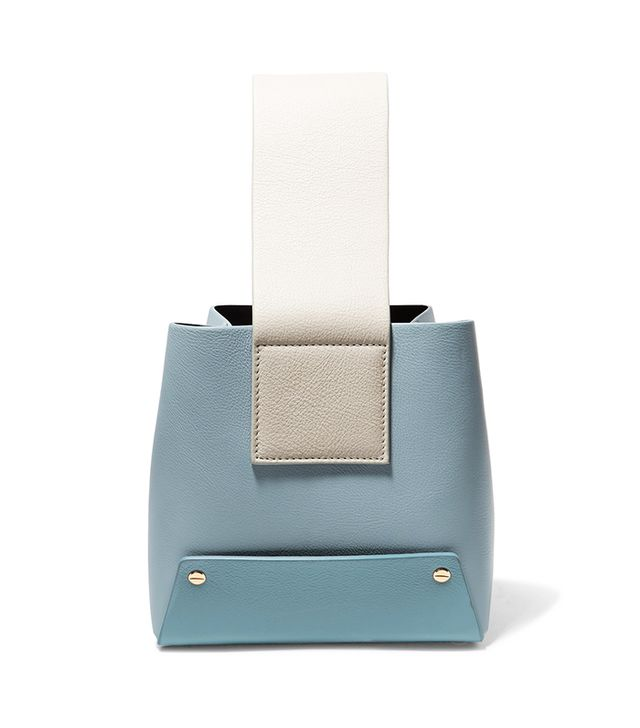 Yuzefi Tab Color-Block Textured-Leather Tote