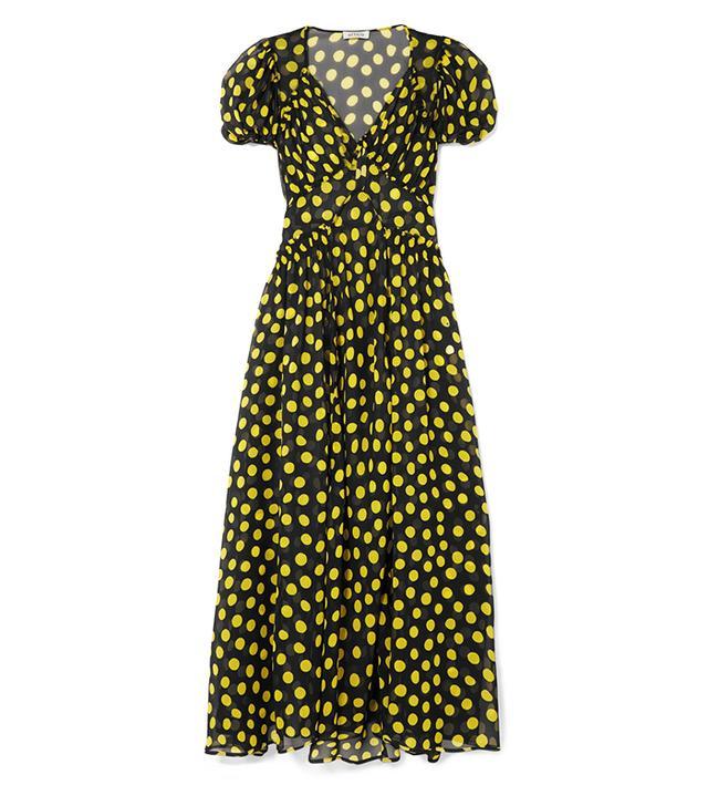 Shirred Polka-Dot Silk-Georgette Maxi Dress