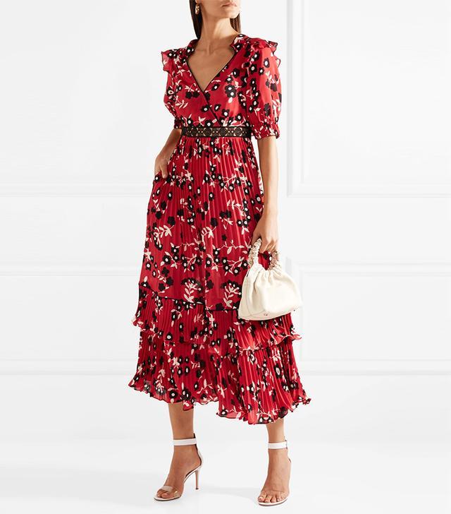 Guipure Lace-Trimmed Floral-Print Crepe De Chine Dress