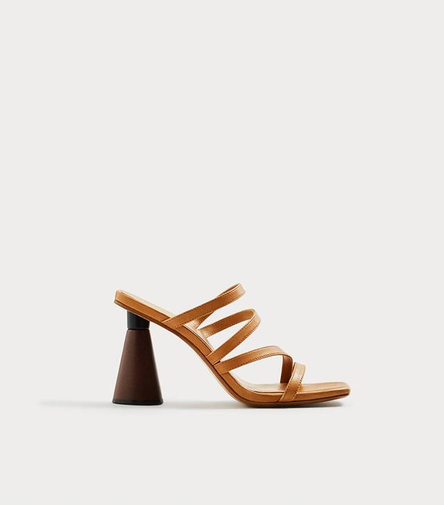 Geometric Heel Leather Sandals