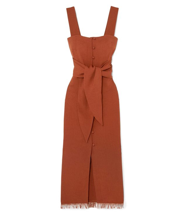 Riley Tie-front Canvas Midi Dress