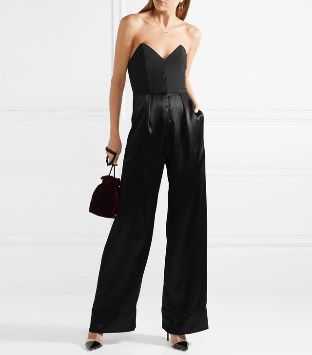 Strapless Crepe And Silk-satin Jumpsuit