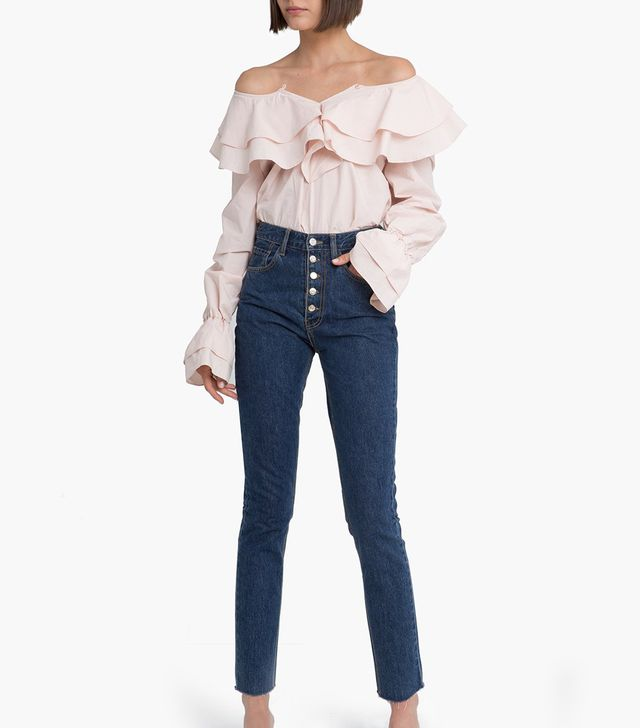 Pixie Market Pink Ruffled Off the Shoulder Shirt