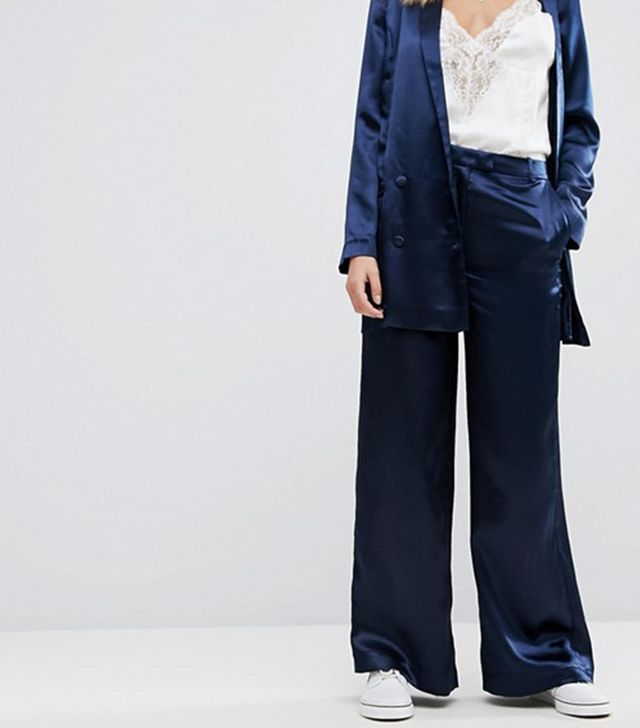 Wide Leg Pants In Hammered Satin Co-Ord