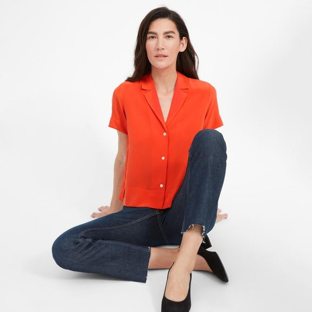 Women's Silk Notch Collar Short-Sleeve Shirt by Everlane in Poppy Red, Size 14