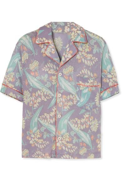 Printed Cashmere and Silk-Blend Shirt