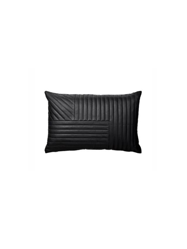 Lo & Co Interiors Black Leather Cushion
