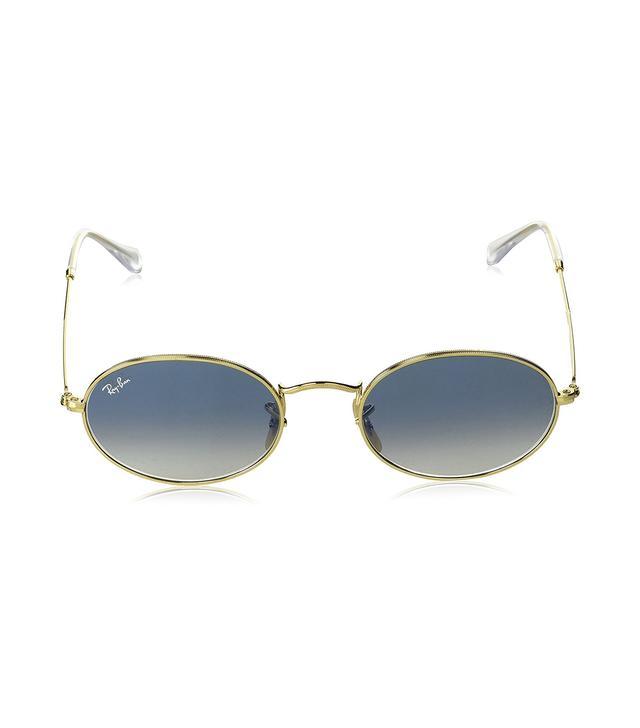 Ray-Ban Metal Unisex Oval Sunglasses, Arista, 53 mm