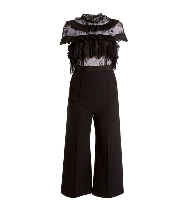 Ruffled-lace wide-leg cady jumpsuit