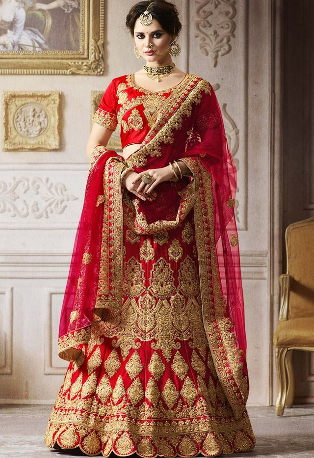 3704ef3028e best indian wedding dresses  Panash Red Satin Bridal Lehenga Choli With  Dupatta