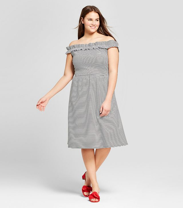 Who What Wear Ruffle Bardot Midi Dress