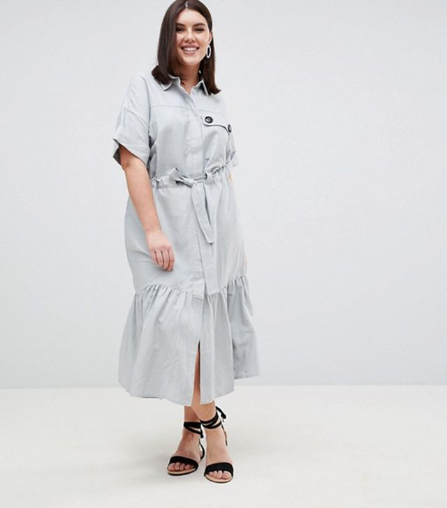 ASOS DESIGN Curve linen maxi shirt dress with belt detail and pep hem