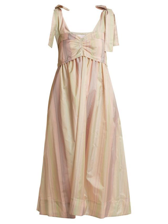 Sweetheart-Neck Striped Taffeta Dress