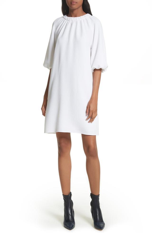 Shirred Neck Mica Crepe Shift Dress