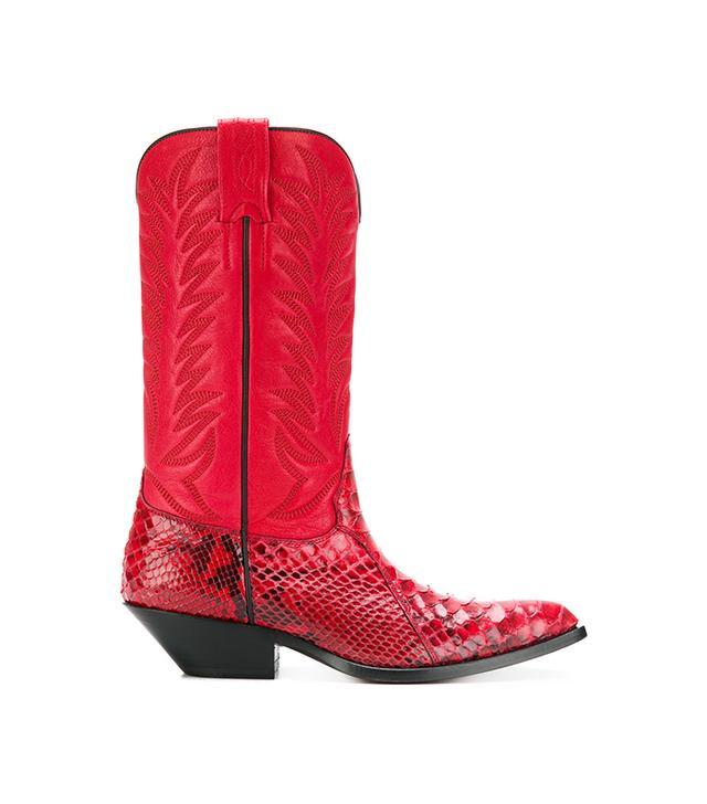 Snakeskin Effect Cowboy Boots