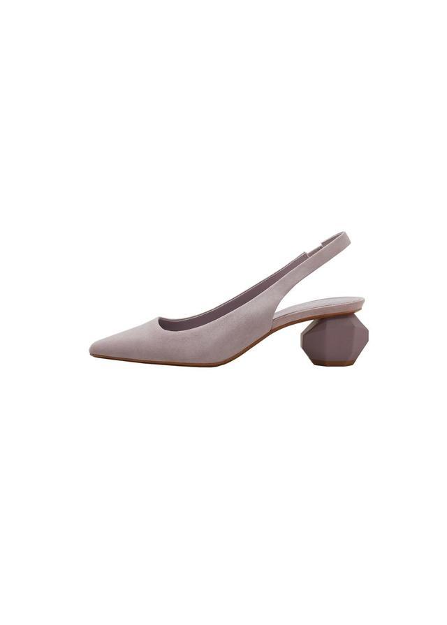 Geometric heel suede shoes