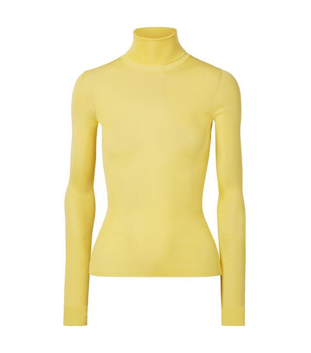 Ribbed Silk Turtleneck Sweater