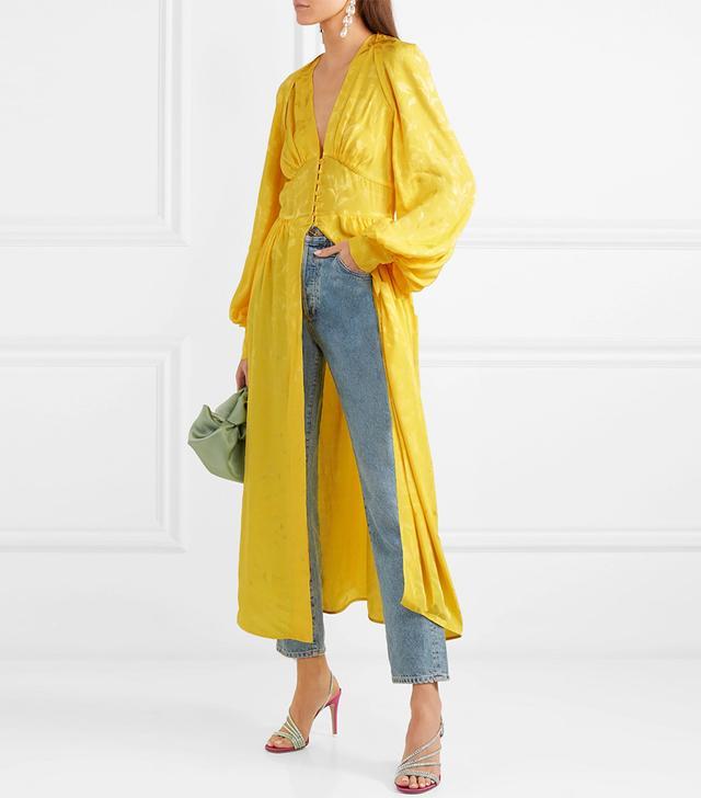 Cutout Floral-jacquard Midi Dress