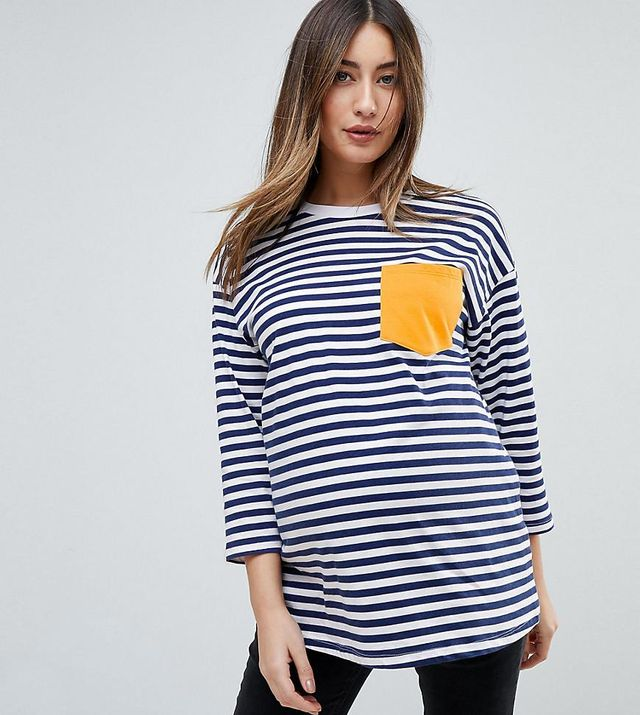 ASOS MATERNITY Long Sleeve Striped T-Shirt with Pocket Detail