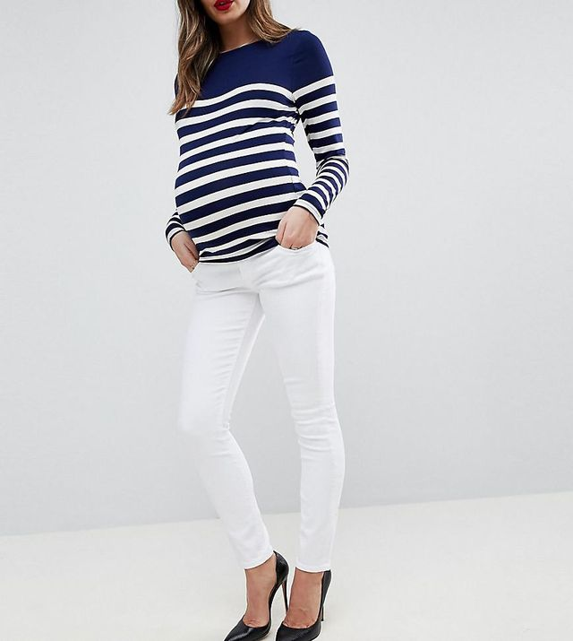 ASOS MATERNITY RIDLEY High Waist Skinny Jeans In Optic White with Under the Bump Waistband