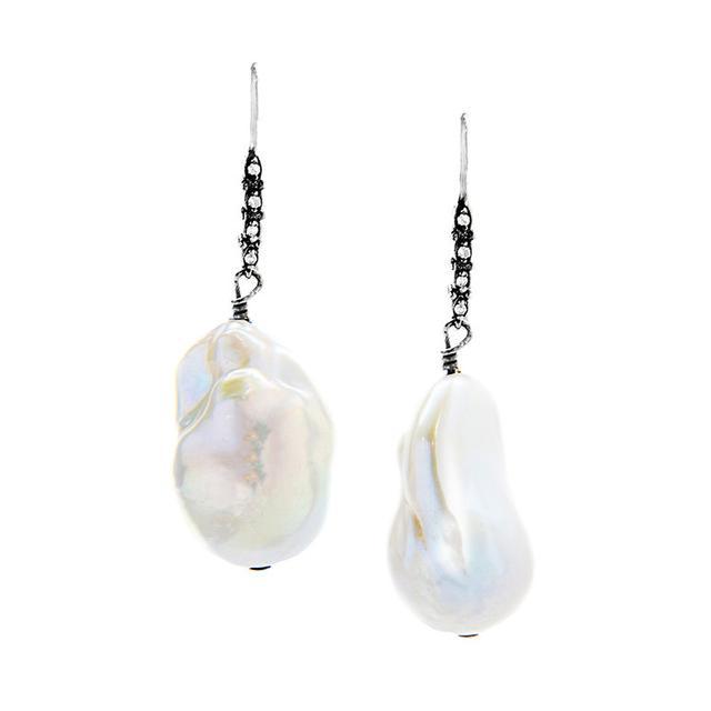 Andrew Harper Jewelry Oxidized Silver Pave Diamond Drop Earrings