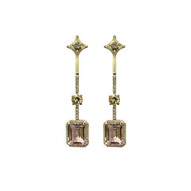Jordan Alexander 18k Gold Diamond and Morganite Earrings