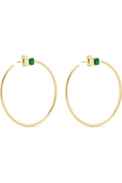 18-karat Gold Emerald Hoop Earrings