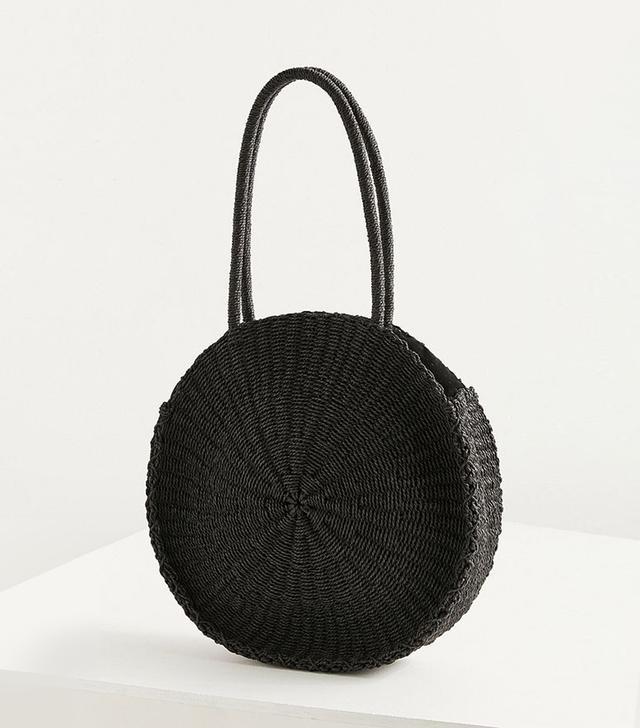 Large Circle Straw Shoulder Bag
