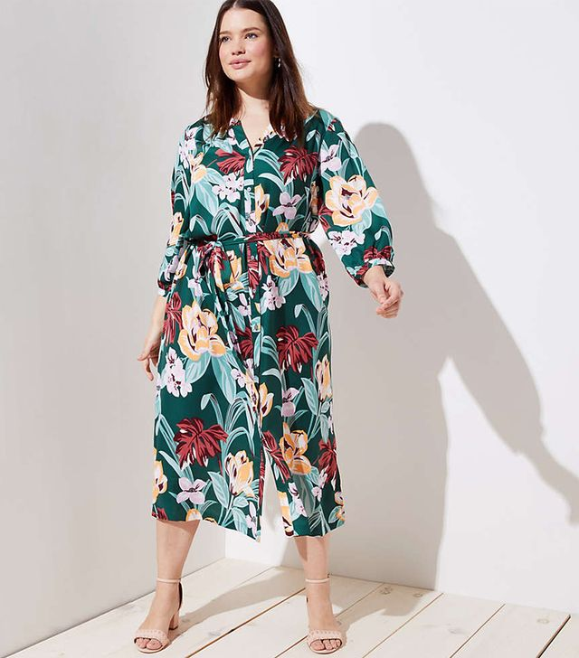 Loft Tropical Tie Waist Midi Shirtdress