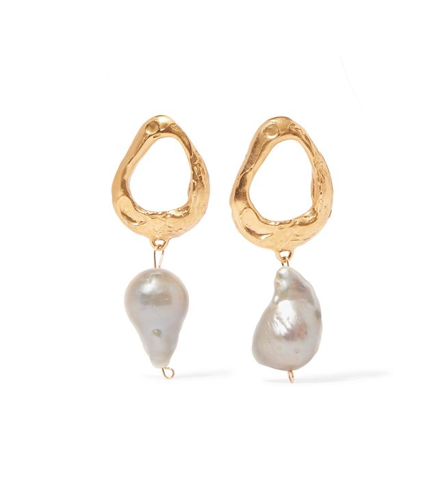 The Infernal Storm Gold-plated Pearl Earrings