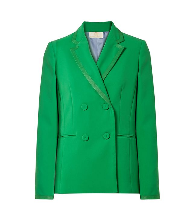 Double-breasted Grosgrain-trimmed Crepe Blazer