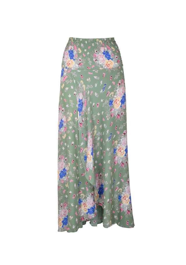 Auguste The Label Shirred Waist Maxi Skirt in Olive