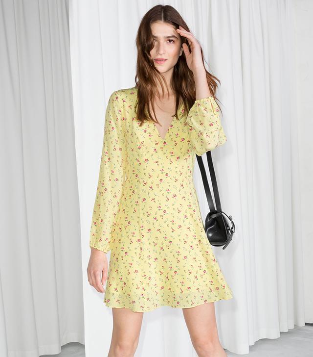 & Other Stories Floral Print Silk Dress