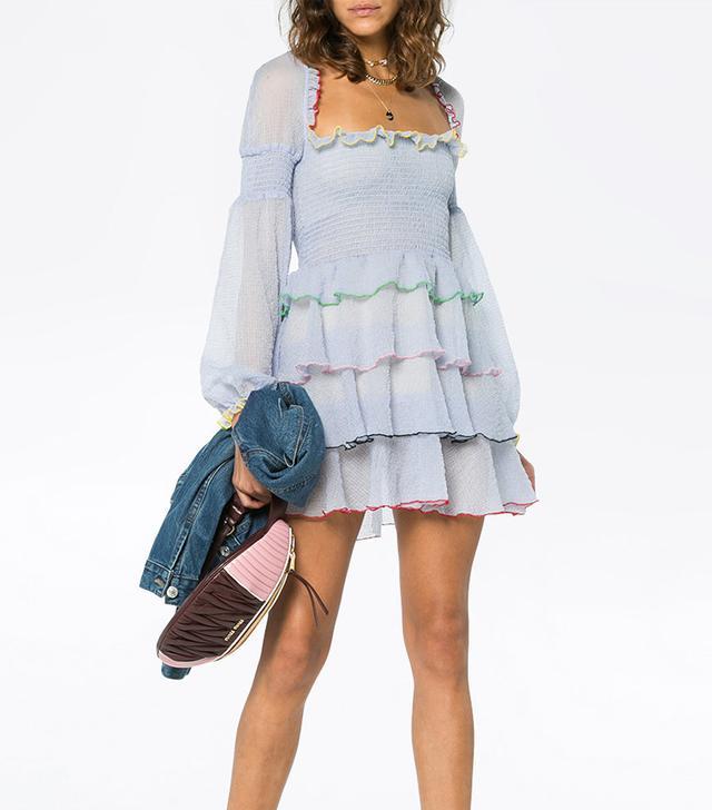Evian mini dress with tiered ruffles