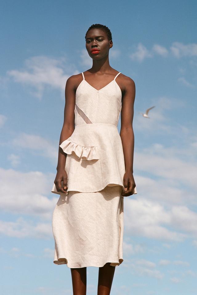 Karla Spetic Venetian Bias Insert Linen Dress