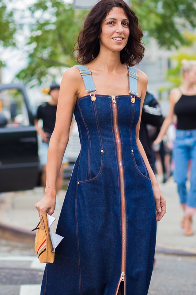 Yasmin Sewell in a denim dress
