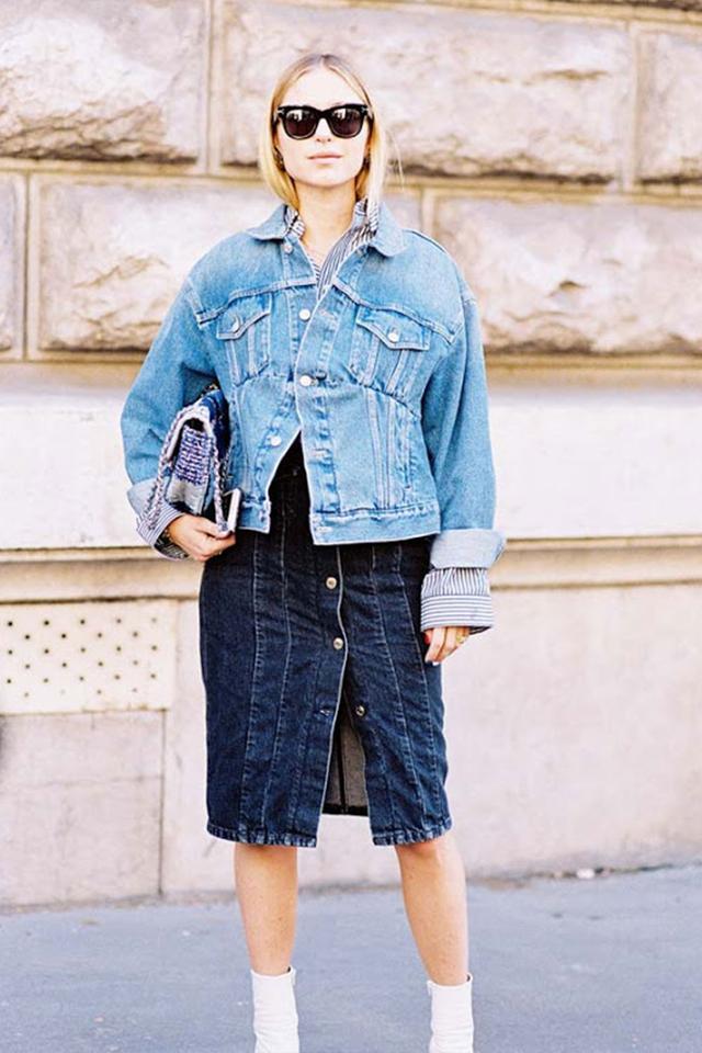 Pernille Teisbaek in a denim on denim outfit