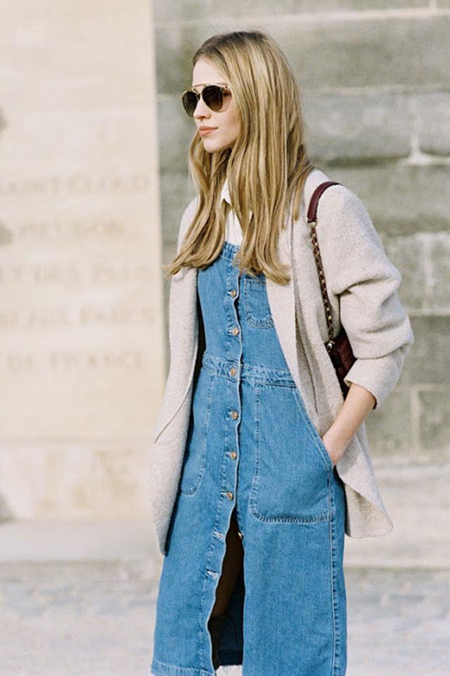 Street style button down denim dress