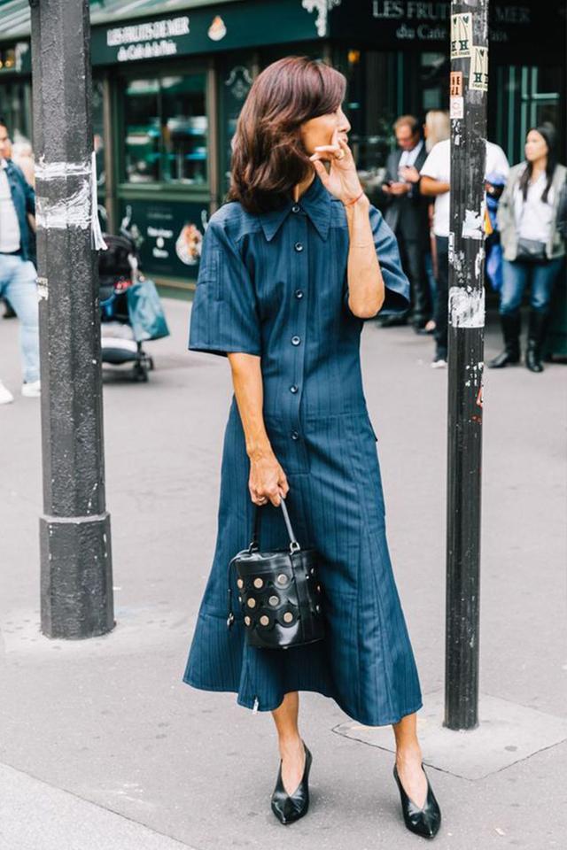 Street style denim chambray midi dress